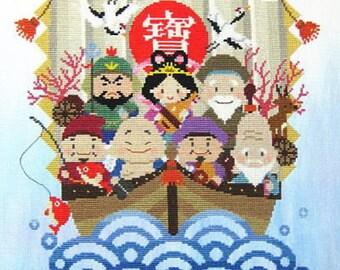 Takarabune (Treasure Ship), Cross Stich Chart