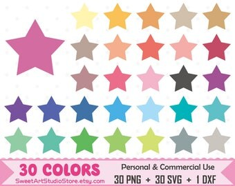 Stars Clipart, Stars planner SVG Silhouette Cricut Cut File Commercial Use (Png Svg Dxf)
