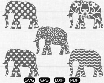 Elephant Svg, Pattern Elephant Clipart, cricut, cameo, silhouette cut files commercial & personal use