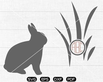 Rabbit SVG Files, Grass Monogram Frame svg, Rabbit Clipart, cricut, cameo, silhouette cut files commercial &  personal use