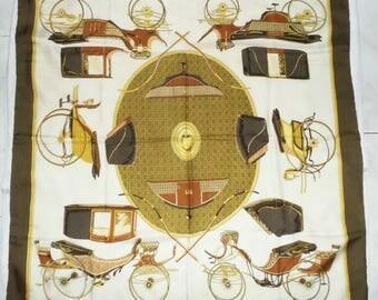 Authentic Vintage Hermes Silk Scarf Les Voitures a Transformation