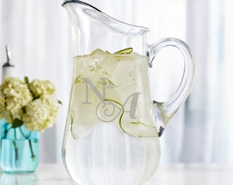 Custom Etched Glass Pitcher