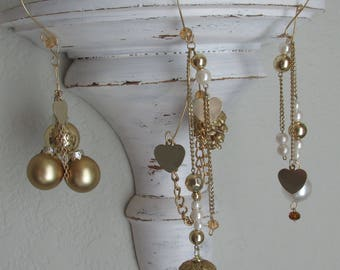 Christmas ornament, Gold balls, Heart pendants, Gold chain, Vintage jewelry, Pinecone. 3 items. Longest 9 inches. UpcycledKreations