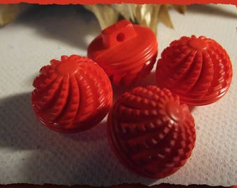 5 buttons red ridged ball * 14 mm foot 1.4 cm button sewing notions 0.55 inch