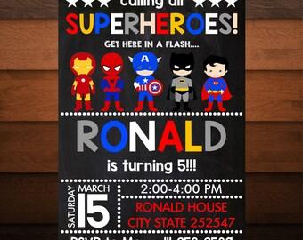 Personalized Superheroes Birthday Invitation for Boys, Boys Birthday Party, Superheroes Invite, Superhero Party, Printable Superhero