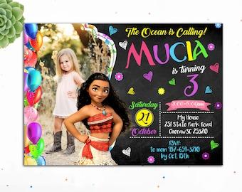 Customizable- Moana Birthday Invitation, Princess Birthday Invitation, Birthday Invitations for Girls,Moana Invites,Digital, Moana Invite