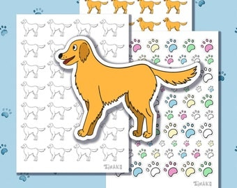 Set of cute stickers with cartoon dogs. Breed labradors or golden retrievers. Colored paws.
