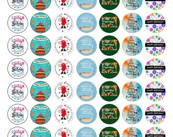 Birthday children, stickers, 48 round units 3x3 cm. Happy New Year. Parties, occasion, Stricker.
