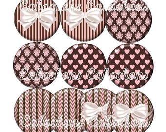 Set of 10 20mm glass, hearts, bows ZC185 cabochons