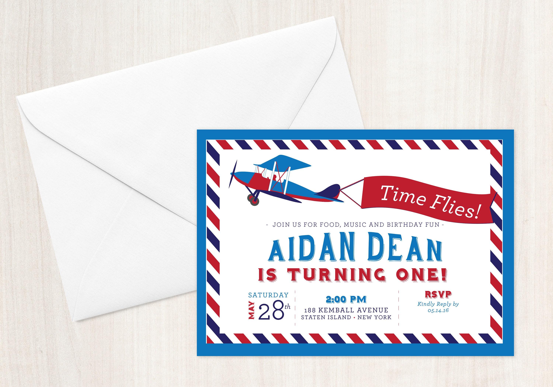 Time Flies Airplane First Birthday Invitation ? Design + Printing ...