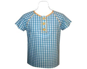 Turquoise and white cotton t-shirt or blouse