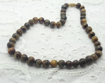 Tiger Eye Choker Necklace/Vintage 15 inch Bead Choker with Barrel Clasp/ Approximately 42 Beads/7-8 mm /free shipping US