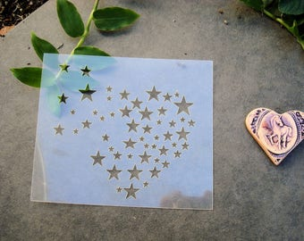 Starry heart P0239 stencil for your pages, cards, your walls