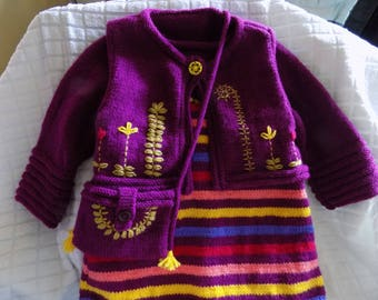 Hand knitted and embroidered baby set