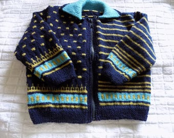 Unique model hand knitted jacquard baby Cardigan.