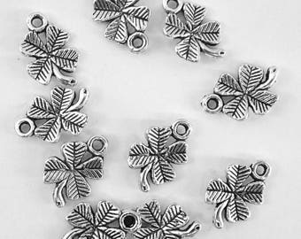 10 charms aged, antique silver metal for making jewelry-bc223 clover