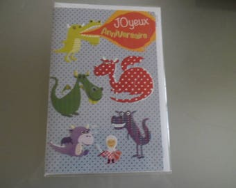 x 1 double birthday card depicting dragons, viking multicolored + 1 envelope 17,5 x 11,5 cm