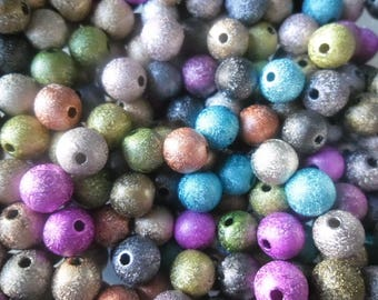 mixed 30 x 8 mm acrylic glitter spacer beads