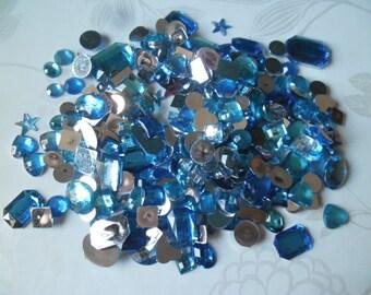 x 285 mixed rhinestone/diamond blue facet sticking acrylic