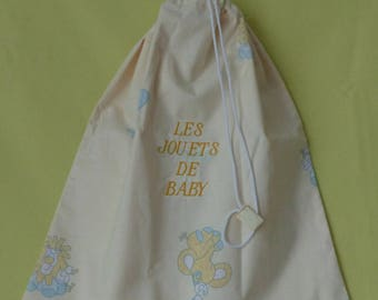 """Yellow toy animals bag, embroidered yellow """"BABY toys"""""""