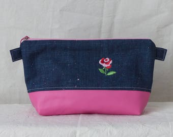 """Kit makeup or other """"LA ROSE"""" glitter denim and pink faux leather"""