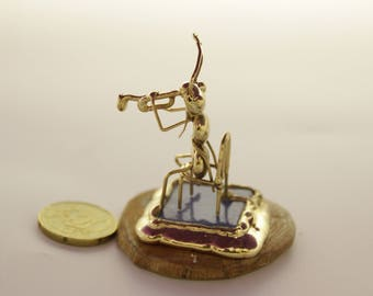 Ant sitting Plays the Trumpet Miniature,Free shipping,hand made,collectible musical miniature ant,miniature animals