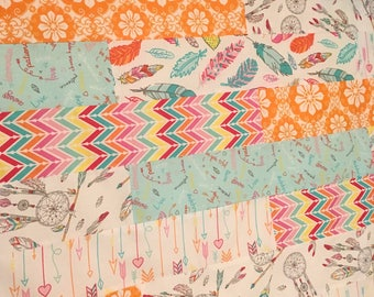Boho feathers baby quilt