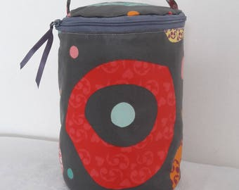 Round pouch for toiletries products, makeup, laminated cotton waterproof, multicolor on gray background
