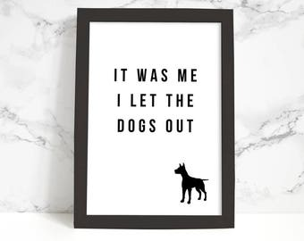 Typography Poster, Printable Art, Dogs Out Phrase, Black and White, Typography Print, Funny Quote, Wall Art