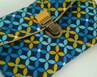 Clutch Briefcase geometric blue and ocher - gift idea mothers day