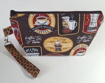 Coffee Project Wedge Bag for Knitting or Crochet, Travel/Makeup bag, too!