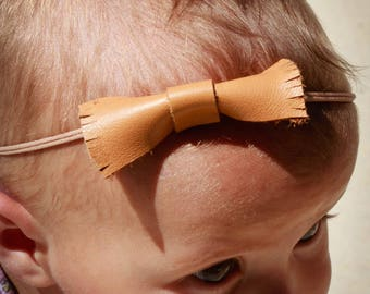 Leather Fringe Bow Attached to Natural Colored Headband - Baby Gift - Baby Girl -Baby Shower - Girls Bow - Girls Headbands - Girls Gift
