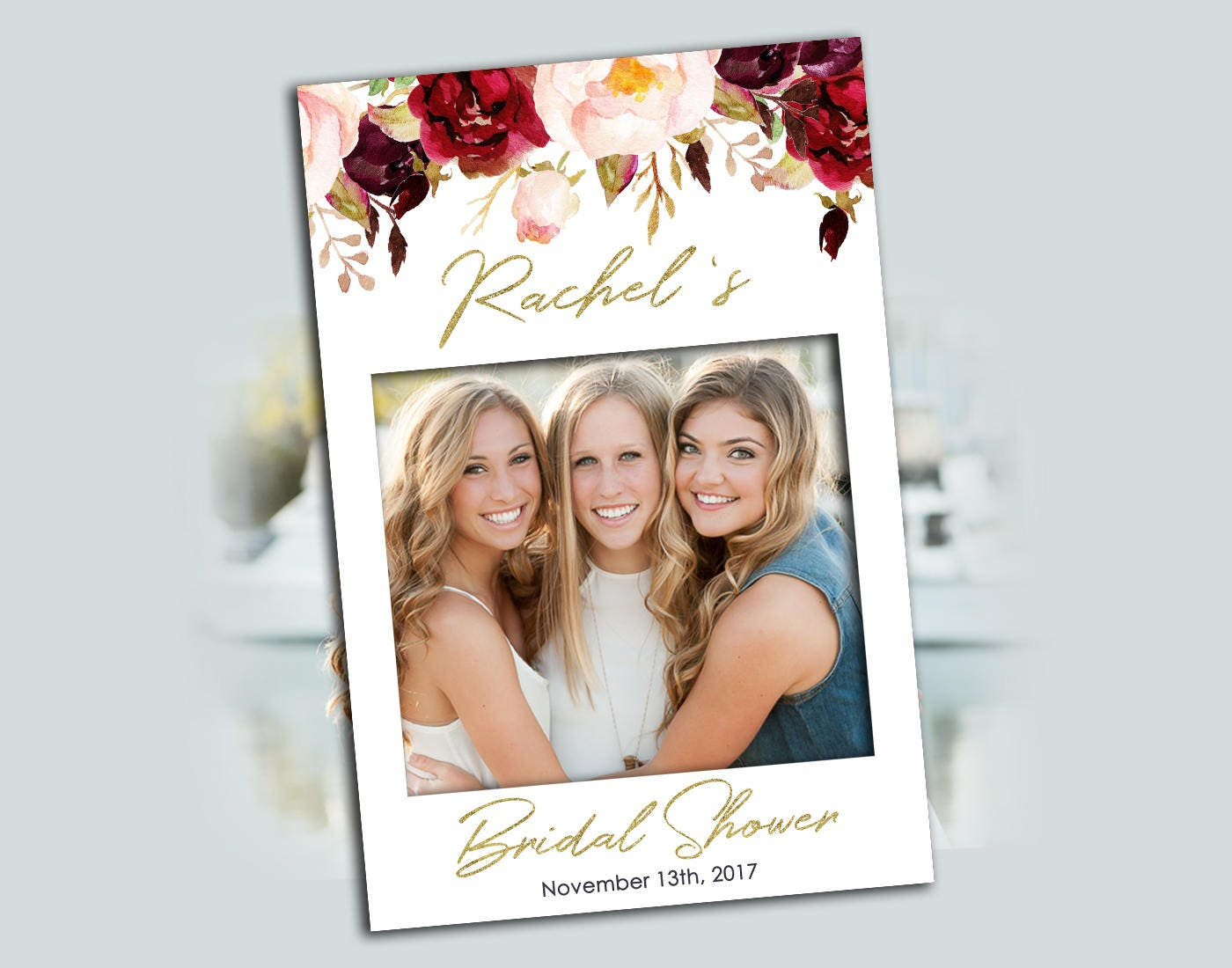 Photo Booth Prop Frame Red Flowers Bridal Shower Printable Photo ...