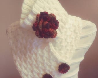 White wool scarf handmade, knitted scarf with headband,with beautiful buttons wool, winter scarf,Free Shipping