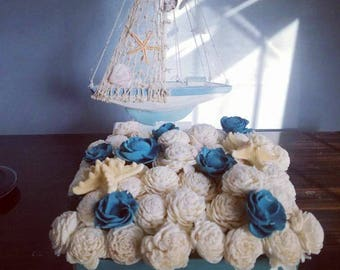 Sea inspired home decor, Sola wood flower decor, beach decor, blue and white decor, star fish decor