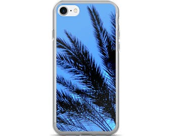 Palm Tree iPhone Case - Palm Trees Leaves Blue and Black Tropical Palms iPhone 7/7 Plus Palm Phone Case