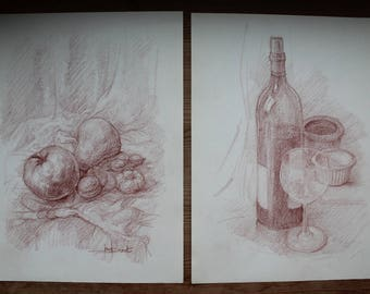 6 Drawings by BERNARD DRUET (1935-2012) Original drawings on paper, Still life seascape, sanguine on paper