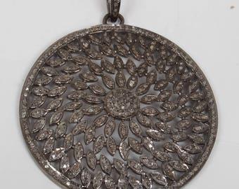 Pave Diamond Pendant, Diamond  Pendant, Round Pendant , 92.5 Sterling Silver Pendant