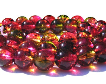 6 tourmalines de 8 mm perles pierres verte, orange, fuchsia.