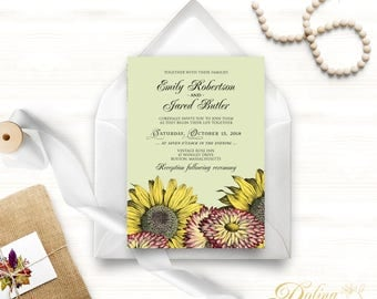 Outdoor Wedding Invitation Garden Wedding Fall Flowers Invitation Printable Invite Rustic Floral Wedding Sunflower Green Invitation Template