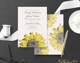 Rustic Wedding Printable Invite Country Wedding Invitation Fall Garden Wedding Flower Invitation Sunflower Wedding Invitation Editable text