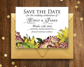Floral Save the Date Cards Garden Wedding Save the Date Template Printable Save the Date Postcards Rustic Sunflowers Gerbera Editable PDF