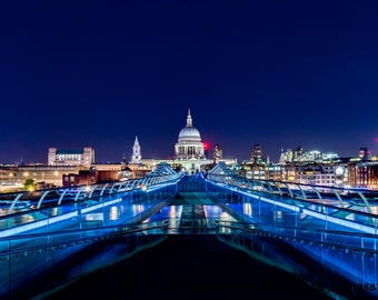 Millennium Bridge Leading To St Paul's Cathedral   London By Night