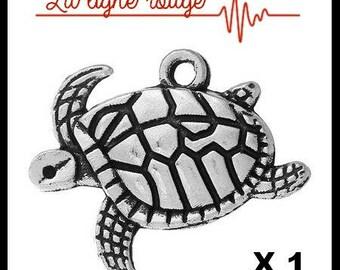 20mm x 17mm antiqued silver turtle pendant