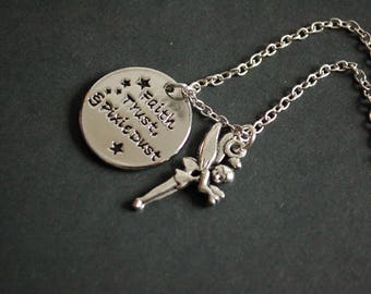 Faith trust, and pixie dust inspired necklace