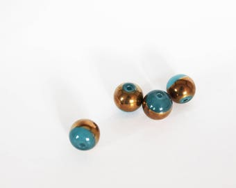 Blue duck bronze art deco 10 mm round glass bead