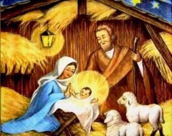 PAPER TOWEL Nativity scene with baby Jesus #DI071