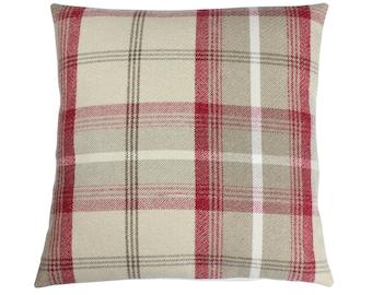 Balmoral Cranberry Checked Tartan Plaid Cushion Cover