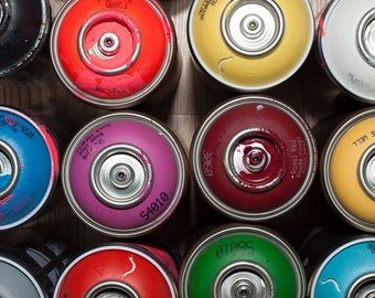 Graffiti Spray Paint Cans Art Print Wall Decor Image Detail Colors - Unframed Poster