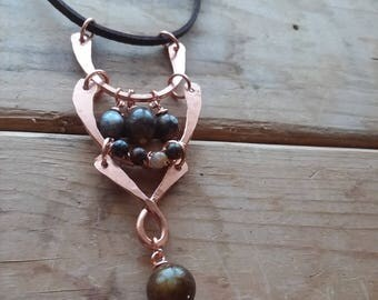 Handmade Copper Frame and Pietersite Necklace Pendant